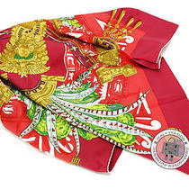 Hermes New 90 Red Silk Scarf Mprs Photo