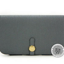 Hermes New Dogon Compact Blue Orage Togo Long Wallet Ghw Mprs Photo