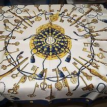 Hermes New in Box Blue Yellow Cream 100% Silk Key Rope Lock 90 Cm Scarf  Photo