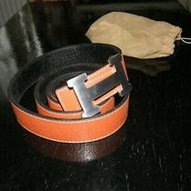 Hermes Original Belt in Black/orange Leather With Silver Buckle Reversible Unise Photo