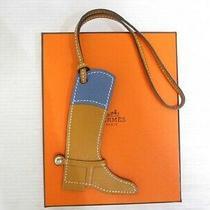 Hermes Paddock Bot Charm Bag Charm Boots Natural Saber Deep Blue Leather W/box Photo