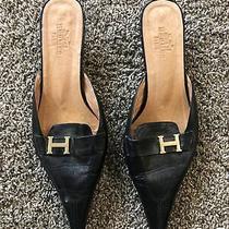 Hermes Paris Black Leather Rare Kitten Heels Size 38 Photo