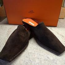 Hermes Paris Bnwb Mens Dark Brown Suede Slippers Eur Size 41 Us 8 Photo