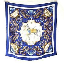 Hermes Paris Cheval Turc Horse Motif Blue Silk 90cm Square Scarf Photo