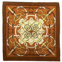 Hermes Paris Eperon Dor Brown Large Silk Scarf 34/36 Inches Poor Condition Photo
