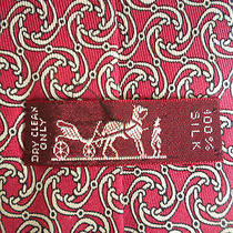 Hermes Paris Red Silk Tie Bridle Rings Bits 7113 Fa Made in France Equestrian Photo