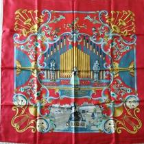 Hermes Paris Scarf Orgauphone Et Autres Mecaniques 100% Silk Red Multicolor Photo