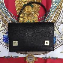 Hermes Paris Vintage Black Lizzard Piano Bag Handbag - Authentic -Rare Photo