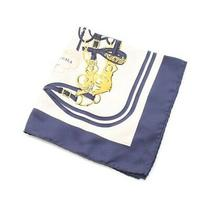 Hermes Petit Curry Carre 45 Brides De Gala Scarf Silk Ivory Navy Yellow no.74425 Photo