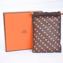 Hermes Pilo Pouch Woven Brown Leather Orange Case Small Drawstring Bag Rare Photo
