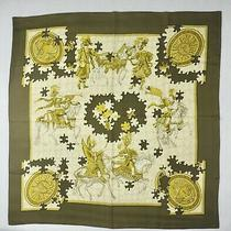 Hermes Rare Vintage Puzzle Silk Scarf Francoise Heron Dark Green Beige and Gold Photo