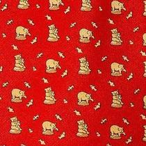 Hermes Red Silk Neck Tie Bear Fish Fishing 59