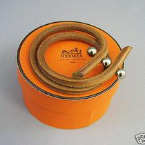 Hermes  Rouletabille Leather Bracelet  Unisex Wristband From Japan Photo