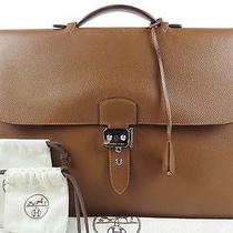Hermes Sac a Depeche41 Business Bag Briefcase Mens Vache Trekking M 100% Auth Photo