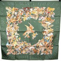 Hermes Sage Green Bird Print l'intrus 90cm Silk Twill Scarf Photo