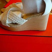 Hermes Sandals Wedges Shoes White Leather Sz 39 in Hermes Box Photo