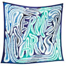 Hermes Scarf 140 Carre Silk a La Plume Stole Blue Green White Photo