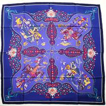 Hermes Scarf 90 Carre Silk Poesie Persane Stole Purple Navy Blue Multicolor Photo