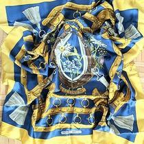 Hermes Scarf Blue Gold 100% Silk Horse Shoe Equestrian Theme 35x35 Photo