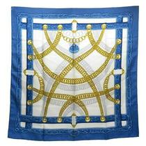 Hermes Scarf Carre 90 Blue X Yellow Ivory Silk 100 Women Cl no.74432 Photo