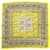 Hermes Scarf Carre 90 Silk Chasse en Inde Animal Elephant Tiger Ethnic Yellow Photo