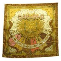 Hermes Scarf Carre 90 Yellow X Brown Pink Silk 100 Women Cl no.74443 Photo