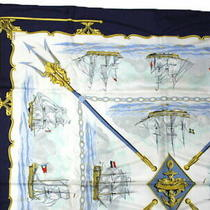 Hermes Scarf Kale 90 La Marine en Bois Sea Ship Hoko Navy Yellow no.72314 Photo