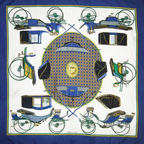 Hermes Scarf Kare 90 Carre Blue White Yellow Silk Photo