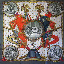 Hermes Scarf Napoleon (Excellent Cond.) 100% Silk 90cm Carre Dark Grey Border Photo