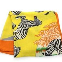 Hermes Scarf Stall Zebra Cashmere Silk Yellow Orange Multicolor 472 Kr no.72419 Photo
