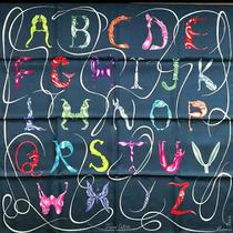 Hermes Scarf Stole Faune Lettree Animal Alphabet Navy Silk Woman Auth New 90 Cm  Photo