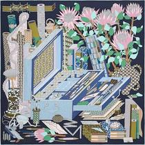 Hermes Scarf Stole Les Tresors d'un Artiste Pierre Marie Navy Silk 90 Cm Ex Photo