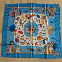 Hermes Scarf Used Umbrella Sky Blue Orange Beige Used in Japan no.3158 Photo