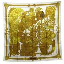 Hermes Scarf Yellow X Ivory Silk 100 Women Classic Populari no.74465 Photo