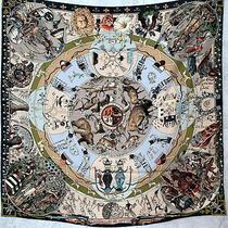 Hermes Silk Green Blue Brown Grey Scarf Carre 90 Les Mythologies Des Hommes Photo