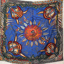 Hermes Silk Green Blue Orange Red Grey Scarf Carre 90 Flowers of South Africa Photo