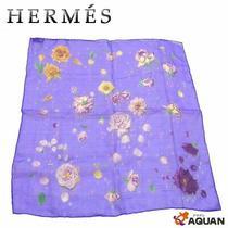 Hermes Silk Muslin Carre 45 La Rosse Rose Flower Dahlia Petit Scarf Purple Photo