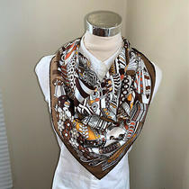Hermes Silk Scarf Carre 90 La Patisserie Francaise White Yellow Brown Grey Photo