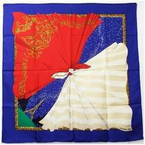 Hermes Silk Scarf Kare 90 Souvenirs De Paris Memories of Blue Used Rank With Box Photo