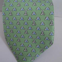Hermes Silk Tie - Green Background With Rabbit & Seals - 5272 Sa Photo