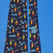 Hermes Silk Tie Navy Whimsical Incan Andes Mountain Piper Flute  Photo