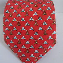 Hermes Silk Tie - Red Background With Rabbit & Seals - 5272 Sa Photo