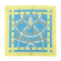 Hermes Silk Whole Pattern Scarf Water Color Yellow Blue System W000037 no.74470 Photo