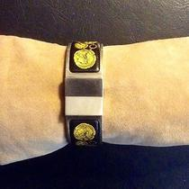 Hermes Silver Clic Bracelet Bangle Black and Gold Design Enamel Photo