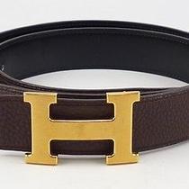 Hermes Sz 36/90 Leather Reversible Strap Belt W/ 32mm H Buckle Mens Black/brown Photo