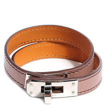 Hermes Tadelakt Leather Kelly Double Tour Wrap Bracelet Cuff Medium Griolet  Photo