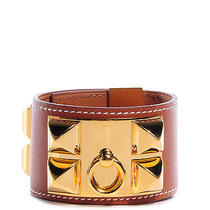 Hermes Tadelakt Leather Small Collier De Chien Bracelet Fauve Cuff Photo