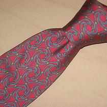 Hermes Tie 7114 Fa Geometric Linked Rings Blue & Gold on Red Silk Necktie Photo