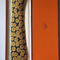 Hermes Tie (Blue and Yellow Sunflowers) With Gift Box Ribbon and Free Bag Photo