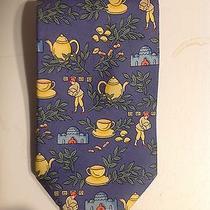 Hermes Tie Silk Designer Teapots Tea Theme Pattern Blue Necktie 7501 Ia Photo